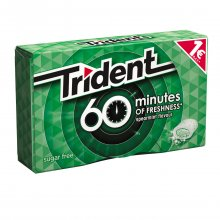 Trident 60 minutes of freshness τσίχλες spearmint 20gr