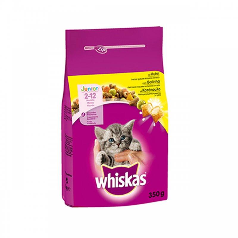 Whiskas Junior 2-12 months ξηρά τροφή για μικρά γατάκια με κοτόπουλο και mini γεμιστές κροκέτες με γάλα. Η ξηρά τροφή Whiskas Junior κοτόπουλο είναι ειδικά σχεδιασμένη για τις ανάγκες και τις προτιμήσεις των εφήβων γατών ηλικίας κάτω των 12 μηνών, όπως επίσης και τις έγκυες και θηλάζουσες γάτες. Η Whiskas Junior προσφέρει μια ισορροπημένη διατροφή που κρατά τα γατάκια απόλυτα ικανοποιημένα και υγιή.