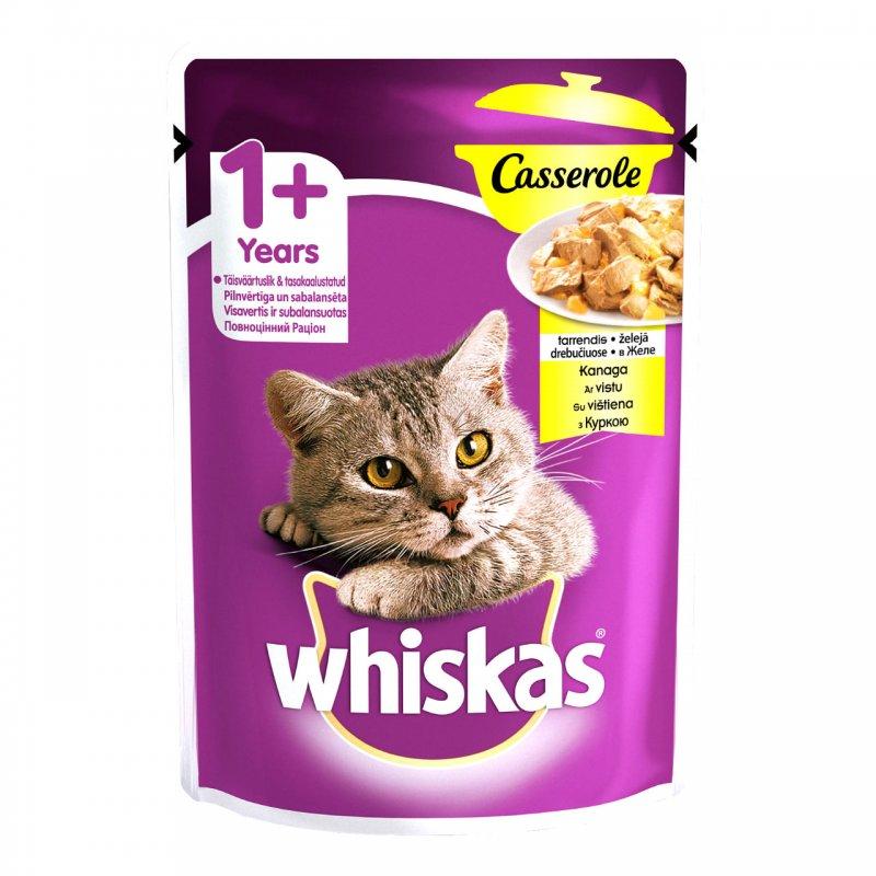 Whiskas 100% πλήρες και ισορροπημένο γεύμα για ενήλικες γάτες! Τo WHISKAS Casserole με Κοτόπουλο σε ζελέ, χάρη στη μοναδική υφή και όψη του, μοιάζει σαν το μαγειρευτό κρέας στην κατσαρόλα που έχετε ετοιμάσει εσείς. Η γάτα σας θα λατρέψει τις ακαταμάχητες, ζουμερές μπουκίτσες του WHISKAS Casserole λαμβάνοντας παράλληλα όλα τα απαραίτητα θρεπτικά στοιχεία που έχει ανάγκη.
