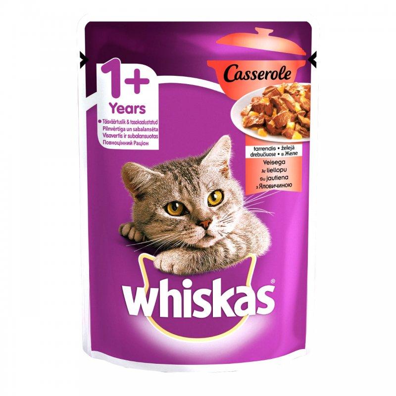 Whiskas 100% πλήρες και ισορροπημένο γεύμα για ενήλικες γάτες! Τo WHISKAS Casserole με μοσχάρι σε ζελέ, χάρη στη μοναδική υφή και όψη του, μοιάζει σαν το μαγειρευτό κρέας στην κατσαρόλα που έχετε ετοιμάσει εσείς. Η γάτα σας θα λατρέψει τις ακαταμάχητες, ζουμερές μπουκίτσες του WHISKAS Casserole λαμβάνοντας παράλληλα όλα τα απαραίτητα θρεπτικά στοιχεία που έχει ανάγκη.