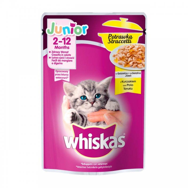 Whiskas Junior 2-12 months πλήρης υγρή τροφή για γατάκια σε ζελέ με κοτόπουλο 85gr